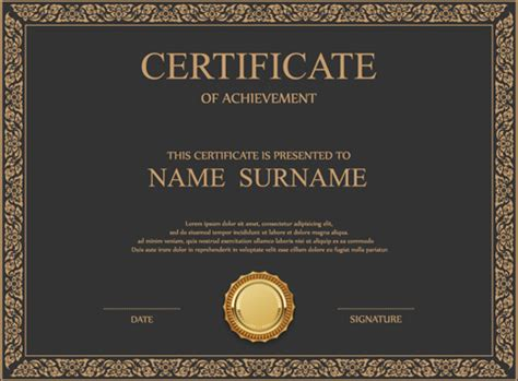 certificate ai template vintage frame certificate template vectors free vector in