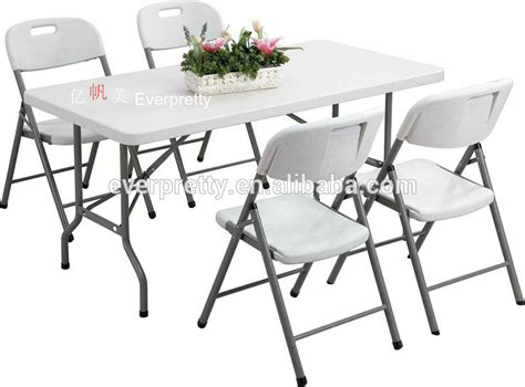 outdoor furniture folding table and chair white plastic