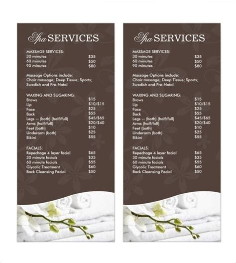 Spa Menu Template The Best Template Ideas Hair Salon Menu Templates