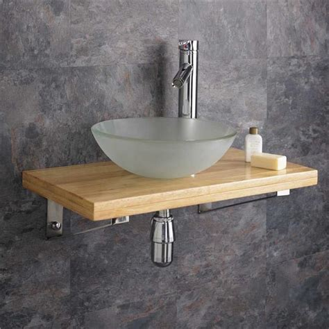 Bathroom Sink Shelf 32cm Ceramic Bathroom Sink 60cm Wood Shelf Wall Hung Cloakroom Basin Set Ebay