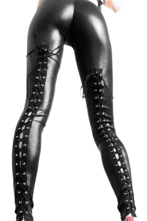Liq Dress Black black lace up metallic leather