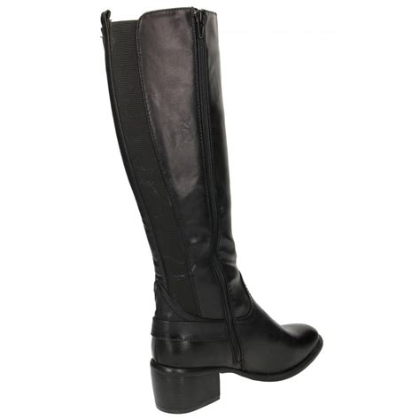 mid heel knee high boots ghizzani stretchy boots knee high mid block heel