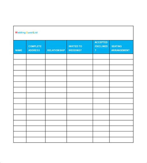 wedding guest list spreadsheet template wedding guest list template 10 free word excel pdf