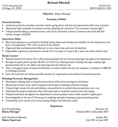 Bakery Production Manager Sle Resume by Bakery Manager Resume Sle Http Resumesdesign Bakery Manager Resume Sle Free
