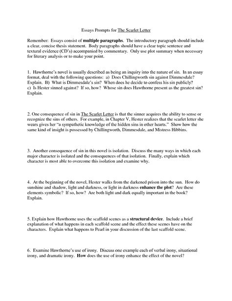 Scarlet Letter Essay Questions by Essay Questions For The Scarlet Letter How To Write An Amazing Persuasive Essay Business Letter