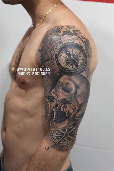 100 awesome compass tattoo designs skull sleeve tattoos