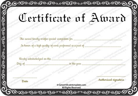 best certificate templates free best performance award certificate template