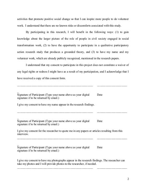 volunteer consent form template ty sle consent form for academic research paper