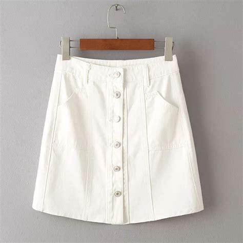 2016 fashion skirt white denim skirts single row of