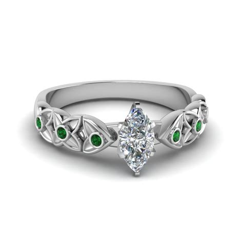 marquise cut floral style accent engagement ring