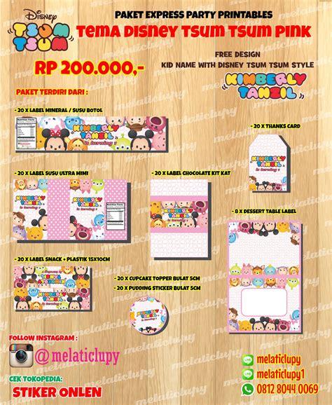 Paket Ulang Tahun Tema Tsum Tsum Kartun Jual Paket Stiker Label Ulang Tahun Anak Tema Disney