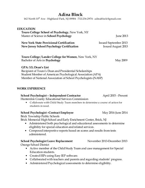 resume school psychologist resume sle free school