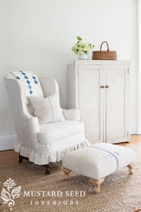 miss mustard seed slipcover slipcovered wing chair grain sack ottoman miss mustard