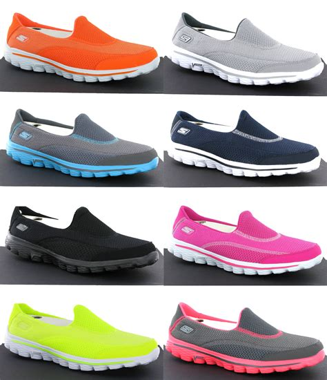 new womens skechers go walk 2 comfort plimsolls shoes