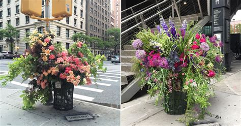 flower design new york a team of florists have been leaving giant bouquets around