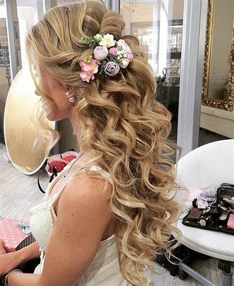 curly hairstyles half up half down for school half updo long curly hairstyles for prom styles time