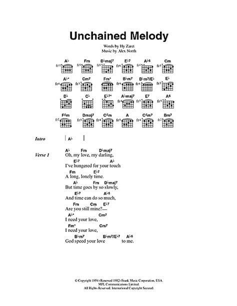 printable lyrics to unchained melody unchained melody sheet music by jimmy young lyrics