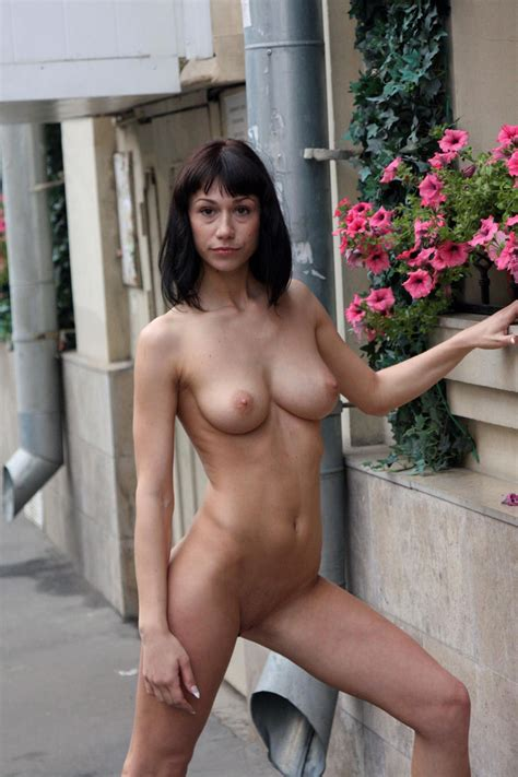 Crazy russian Brunette With sweet boobs Posing Totally naked At Public Streets russian sexy girls