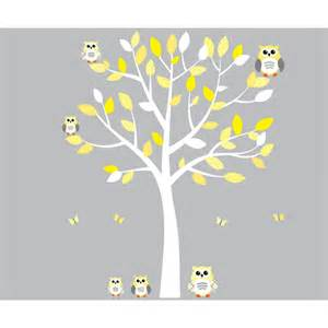 Yellow and grey owl wall art with white tree wall decal for girls bedrooms