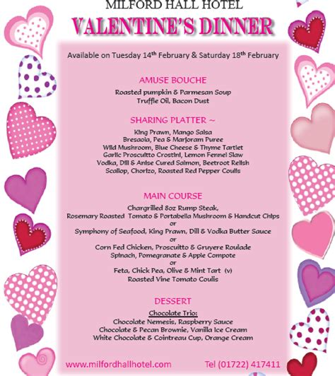 valentines dinner specials milford hotel