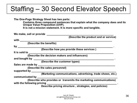 Sle 30 Second Elevator Speech striplin presentation successful international trade shows