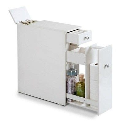 Slim Bathroom Storage White Finish Slim Bathroom Cabinet Roll Out Storage Holder Wood Toilet New What S It Worth