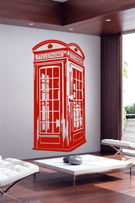 Car Wall Sticker wall decals vintage phone booth walltat com art without