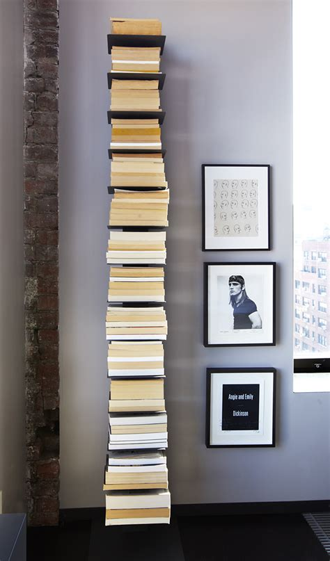 a solution to the busy visuals of vertical book towers