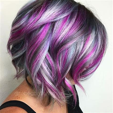 hairstyles with blonde and purple highlights short cute color hair health beauty pinterest