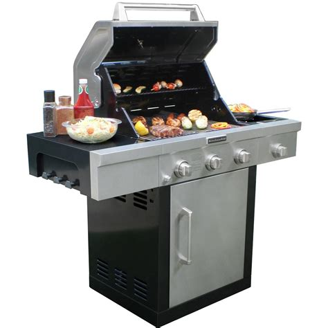 kitchenaid 25 inch propane gas grill on cart with side