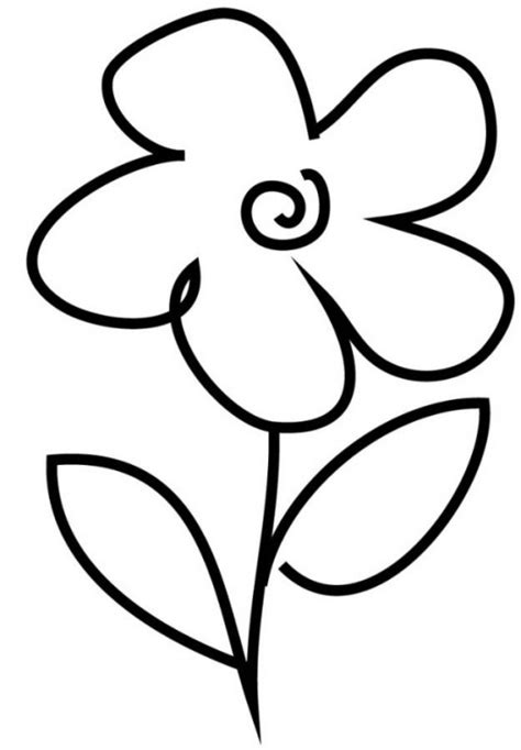 easy coloring pages for kindergarten simple flower drawings for kids clipart best