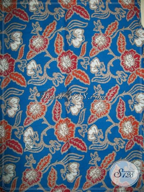 Kemeja Batik Bunga Biru kain batik motif bunga batik warna biru untuk baju wanita