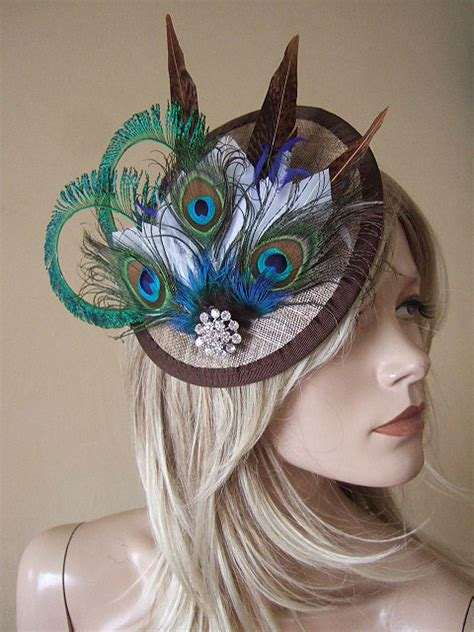 black red and gold peacock fascinator you fascinate me so pinter gold peacock browns and white feathered and crystal saucer