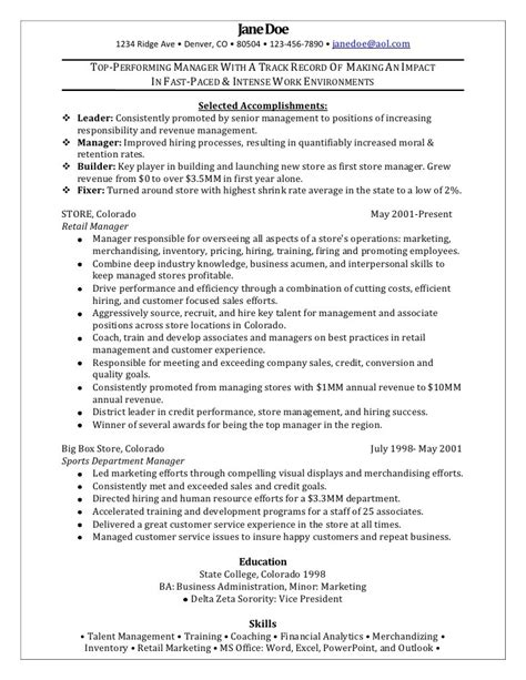 resume sles for retail management position resume