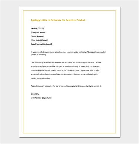 Apology Letter To Customer For Wrong Product Apology Letter Template 33 Sles Exles Formats