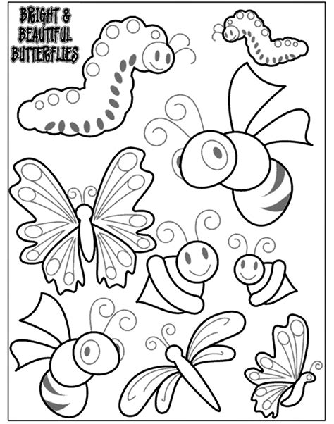 coloring pages of bugs and butterflies everything children
