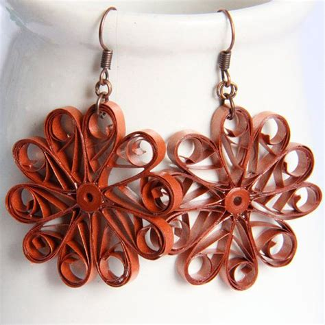 paper quilled flower earrings tutorial large copper flower earrings paper quilled unique handmade