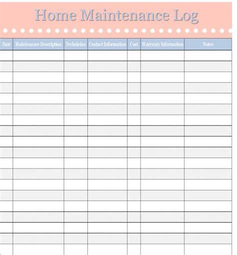 home maintenance log vehicle maintenance log
