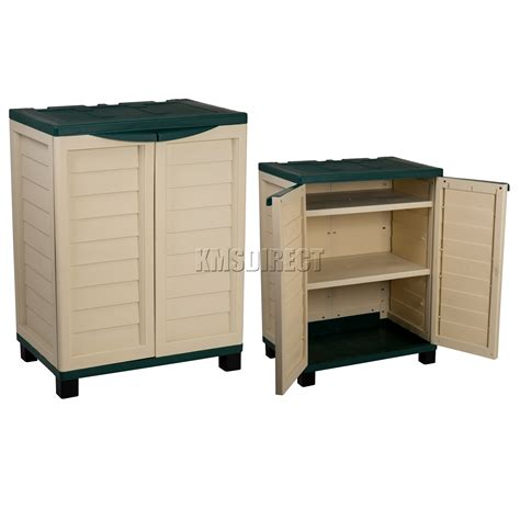 Plastic Outdoor Storage Cabinet Starplast Outdoor Plastic Garden Utility Cabinet With 2 Shelves Storage Green Ebay