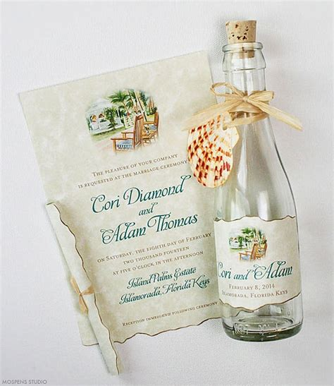 wedding invitations tropical gazebo glass bottles