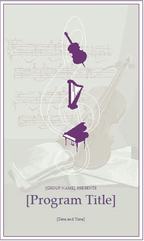 word cover page template music event program invitation template formal word