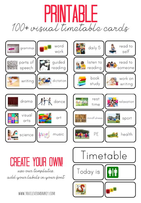 visual schedule template free printables visual timetable youngest child and monkey