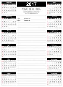 Calendar Template With Notes by Printable 2017 Calendar Template With Notes 123freevectors