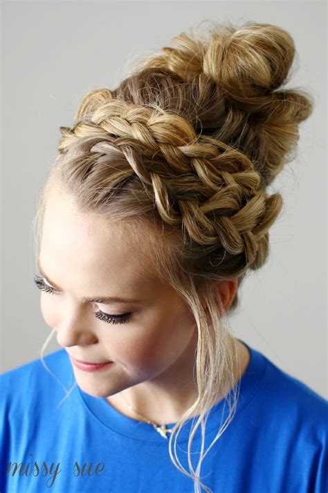 25 best ideas about braided top knots on hair ideas for school top knot hairstyle