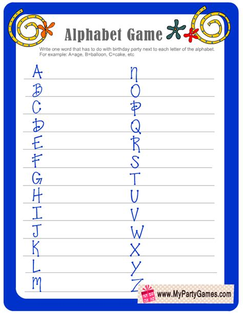 printable abc order games free printable birthday alphabet game