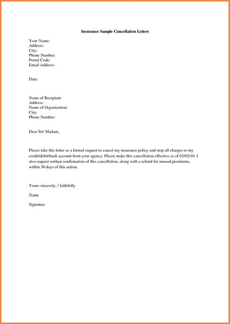 sle of cancellation letter for insurance policy spectacular insurance cancellation letter template for 6