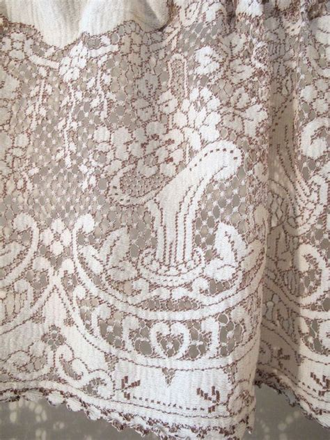 Brown Lace Curtains Brown Basket Lace Curtains 36 Inch Cafe Drape Cotton Lace Window Treatment Curtains