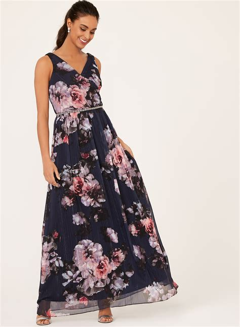 Floral Print Chiffon Dress floral print beaded chiffon dress