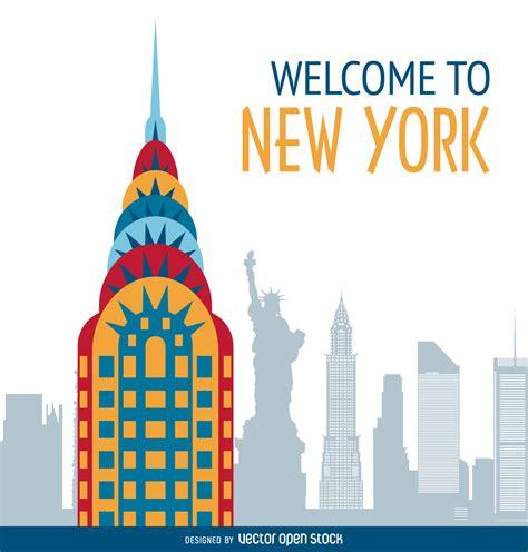 new free new york postcard illustration vector