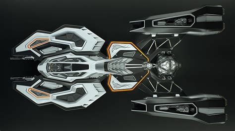 animated spaceship  concept design cgtrader
